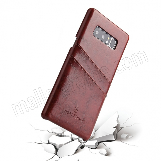 best price Brown For Samsung Galaxy Note 8 Luxury Oil Wax Card PU Leather Back Hard Case Cover