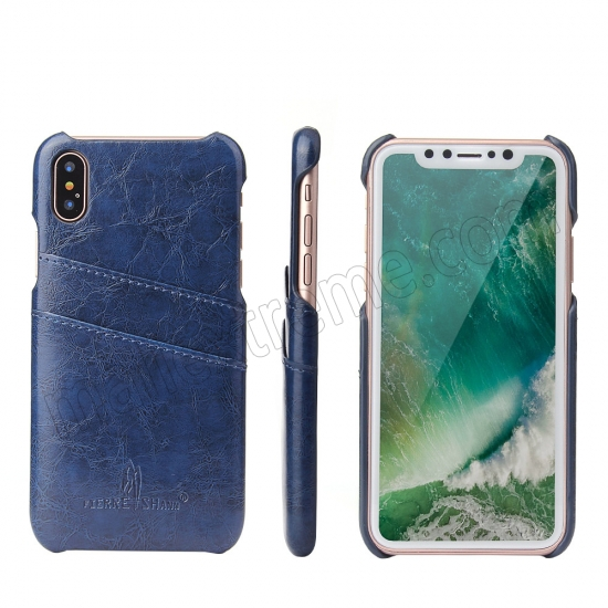 wholesale Dark Blue Luxury Oil wax PU Leather Flip Back Cover Card Holder Case For iPhone X