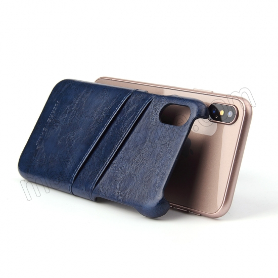 best price Dark Blue Luxury Oil wax PU Leather Flip Back Cover Card Holder Case For iPhone X