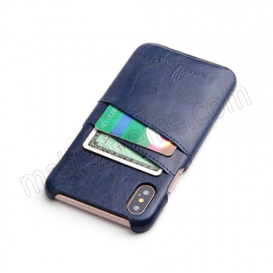 cheap Dark Blue Luxury Oil wax PU Leather Flip Back Cover Card Holder Case For iPhone X