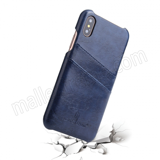 top quality Dark Blue Luxury Oil wax PU Leather Flip Back Cover Card Holder Case For iPhone X