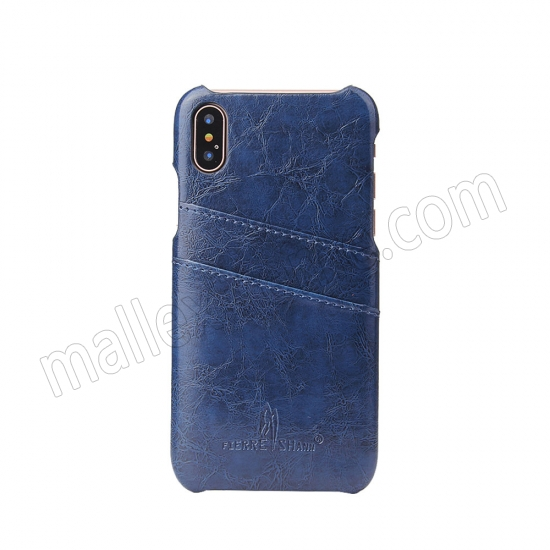 on sale Dark Blue Luxury Oil wax PU Leather Flip Back Cover Card Holder Case For iPhone X