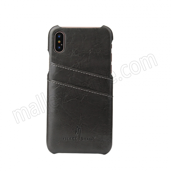 on sale Dark Grey Luxury Oil wax PU Leather Flip Back Cover Card Holder Case For iPhone X