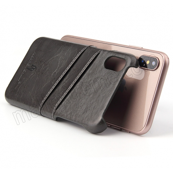 best price Dark Grey Luxury Oil wax PU Leather Flip Back Cover Card Holder Case For iPhone X