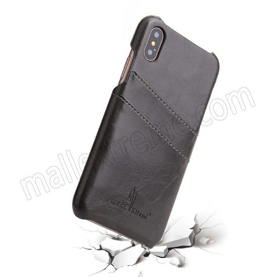 top quality Dark Grey Luxury Oil wax PU Leather Flip Back Cover Card Holder Case For iPhone X