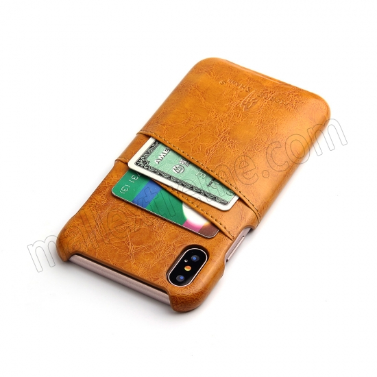 cheap Orange Luxury Oil wax PU Leather Flip Back Cover Card Holder Case For iPhone X