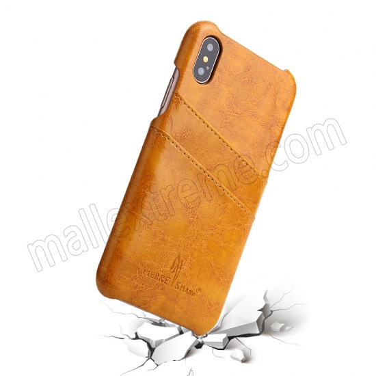 top quality Orange Luxury Oil wax PU Leather Flip Back Cover Card Holder Case For iPhone X