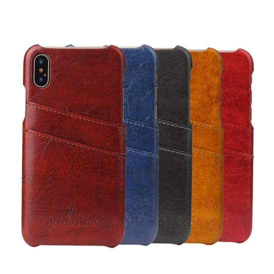 low price Orange Luxury Oil wax PU Leather Flip Back Cover Card Holder Case For iPhone X