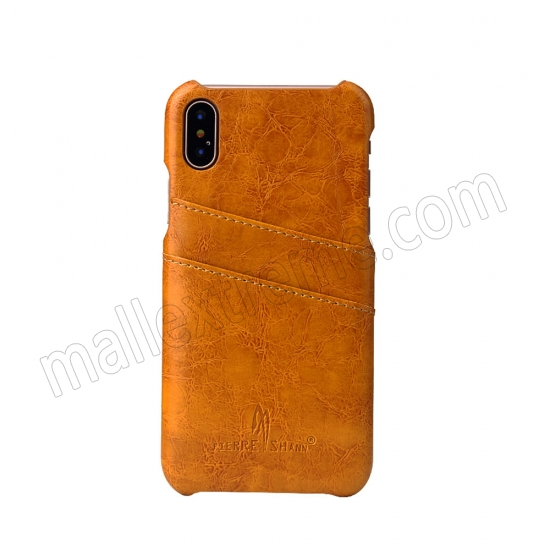 on sale Orange Luxury Oil wax PU Leather Flip Back Cover Card Holder Case For iPhone X