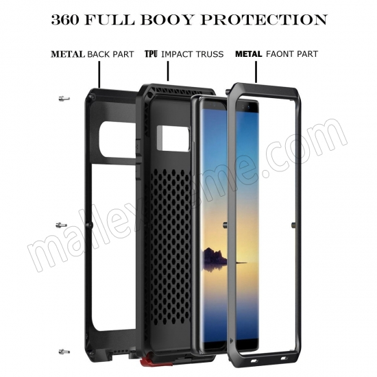 discount Black Aluminum Metal Water Resistant Shock Dust proof Case For Samsung Galaxy Note 8