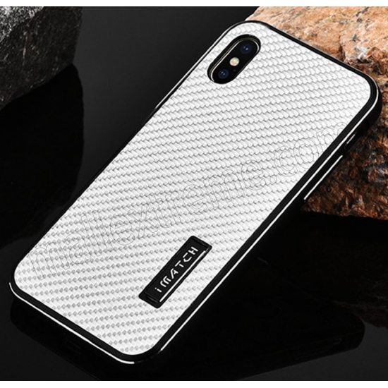 cheap Black&Silver Metal Aluminum Hard Bumper Carbon Fiber Shockproof Case For iPhone X