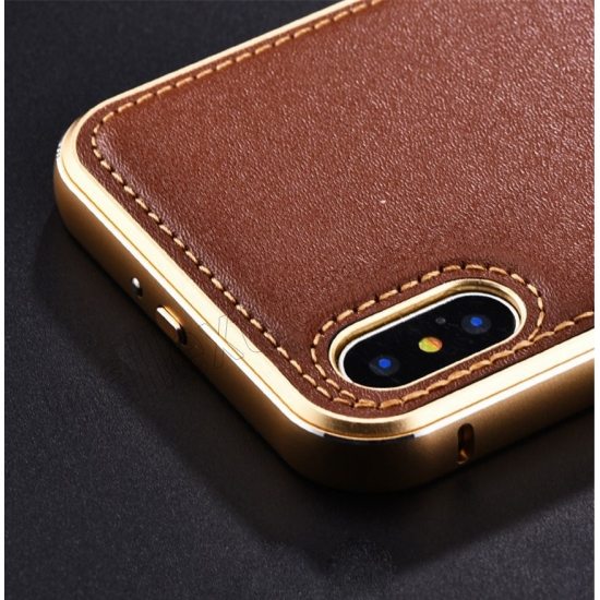cheap Gold&Dark Blue Aluminum Metal Genuine Leather Case For iPhone X