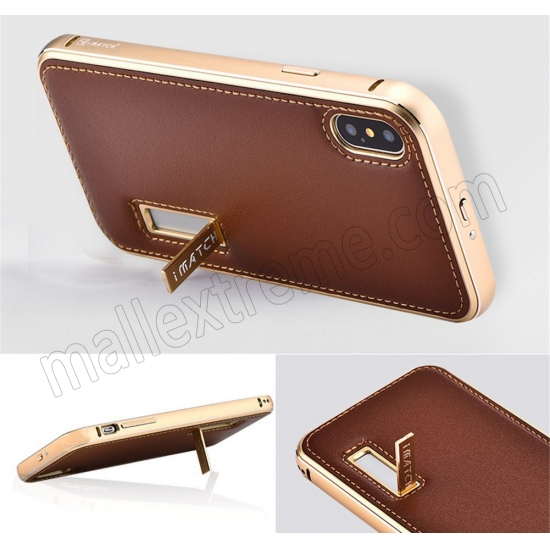 top quality Gold&Dark Blue Aluminum Metal Genuine Leather Case For iPhone X