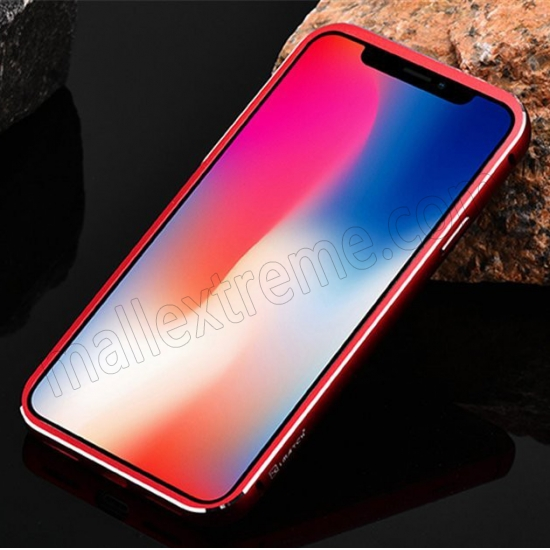cheap Red&Black Metal Aluminum Hard Bumper Carbon Fiber Shockproof Case For iPhone X