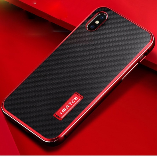 top quality Red&Black Metal Aluminum Hard Bumper Carbon Fiber Shockproof Case For iPhone X