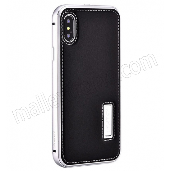 wholesale Silver&Black Aluminum Metal Genuine Leather Case For iPhone X