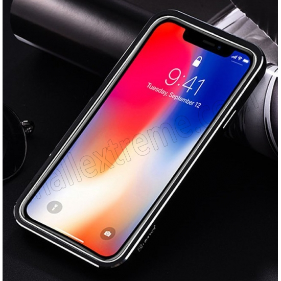 discount Silver&Black Aluminum Metal Genuine Leather Case For iPhone X